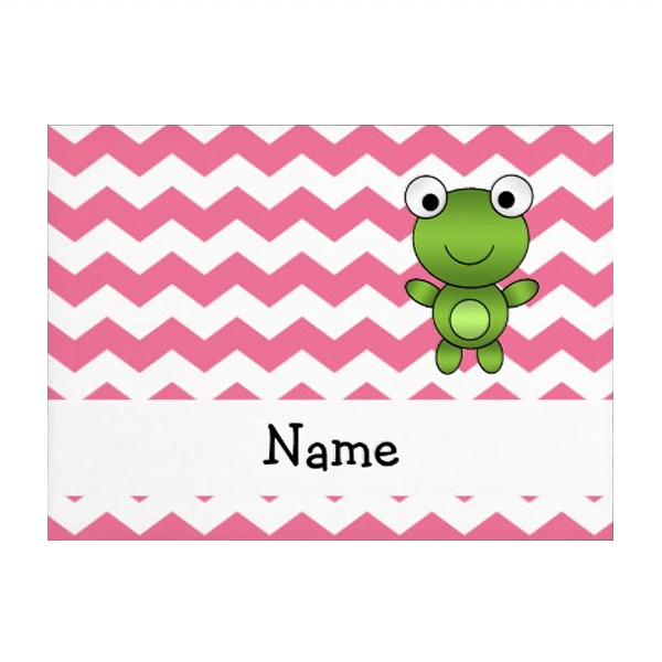 Personalized name frog white and pink chevrons envelopes