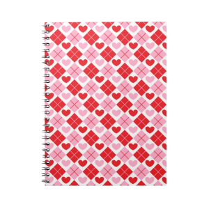 Red and Pink Diamonds & Hearts Spiral Note Books